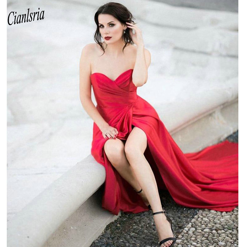 Sexy Red Evening   Dresses   Front Split Pleats Sheath Special Occasion Gowns Chiffon Celebrity Long   Prom     Dresses   Sweetheart   Dresses