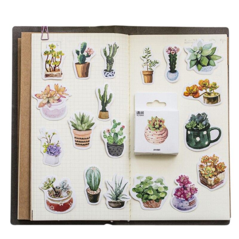 20packs/lot Cute Succulents Series Sticker DIY Decoration Label Dress Up For Dairy Album Bookmark Wholesale