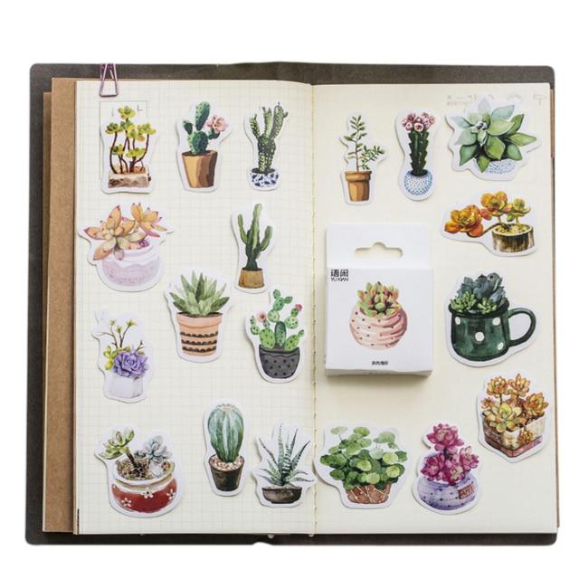 20packs/lot sveglio serie di piante grasse autoadesivo etichetta della decorazione di DIY dress up per dairy album segnalibro allingrosso
