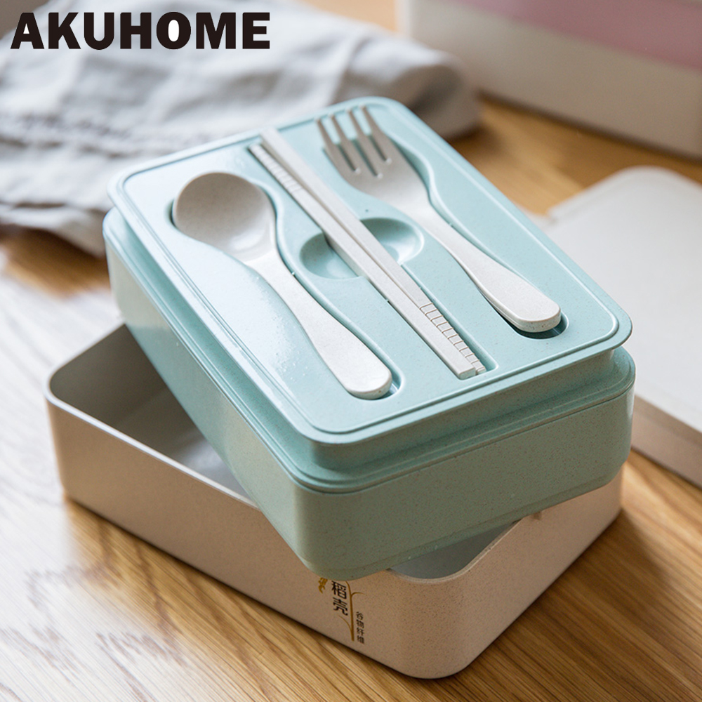 carry dinnerware set rice husk Box For Food With Containers Microwave For Kids School Picnic Food Container