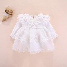 Noworodki dziewczynek ubrania dla niemowląt ubrania koronkowe bawełniane sukienki dla dziewczynek suknia do chrztu z długim rękawem sukienki dla dziewczynek 3 6 miesięcy