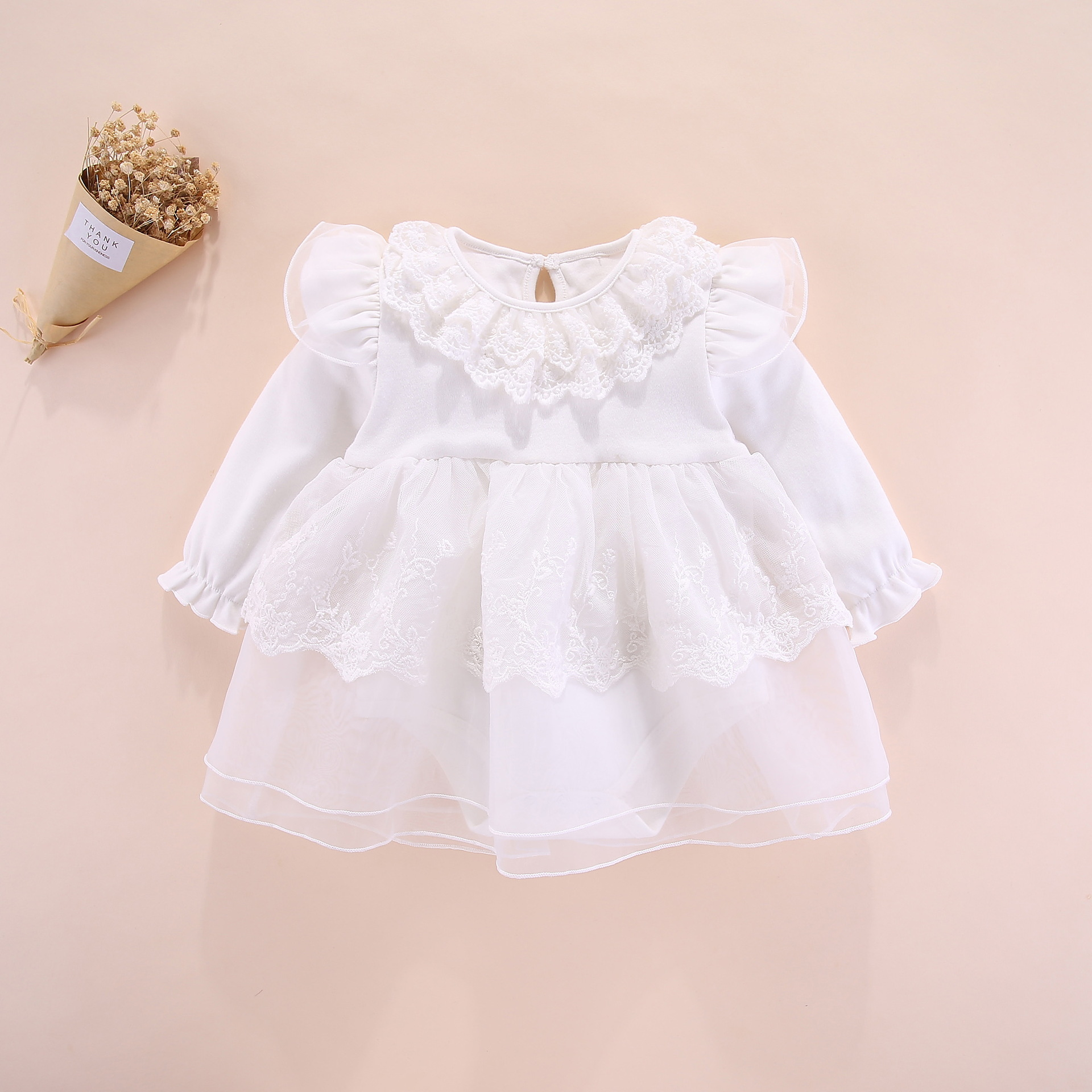 Newborn Baby Girls Off-The-Shoulder Lace Baptism Romper Summer Outfits