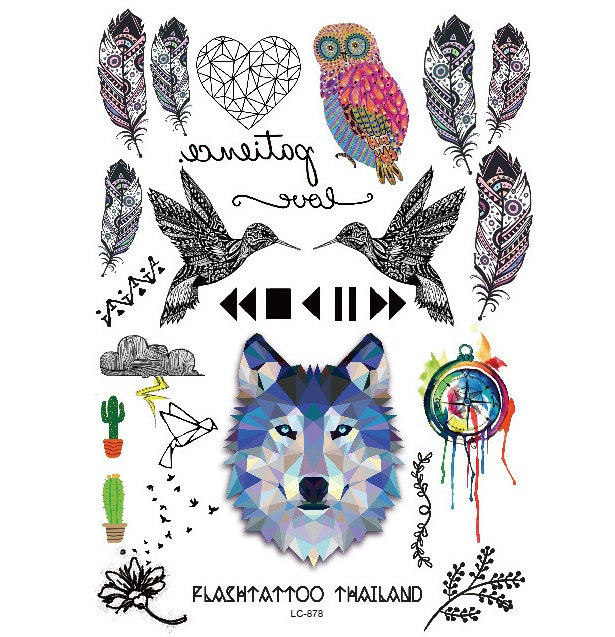 Tattoo Flash Wallpaper By Feathr: Newest Temporary Feather Tattoo Stickers Flash Owl Wolf