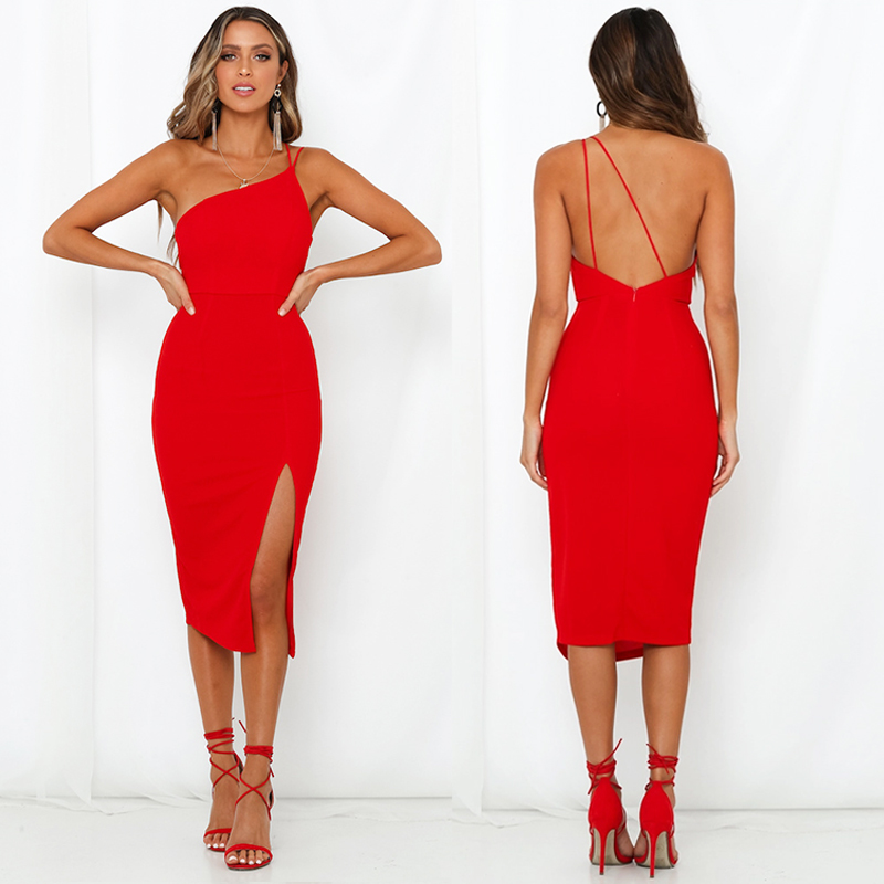 HTB1G97pe8iE3KVjSZFMq6zQhVXas Evening Party  Dress vestidos Women Backless One Shoulder Split Bodycon  Strap Christmas Red  Dresses 2019 New Arrivarls
