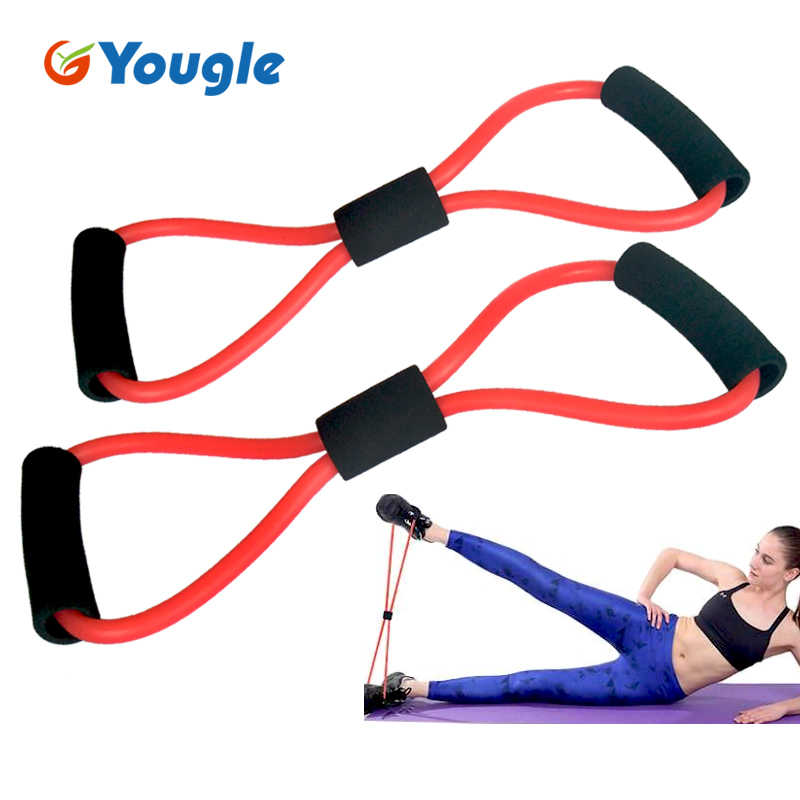 """2 sztuk w kształcie litery """"8"""" odporność na taśmy sportowe rury dla joga Fitness Pilates do treningów i ćwiczeń sprzęt Fitness w klatce piersiowej dla programistów"""