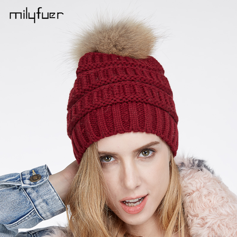 Milyfuer New Women Fur Hat Solid Red Real Raccoon Fur Ball Casual Autumn Winter Warm Female Natural Fur Hats Caps For Children 4pcs new for ball uff bes m18mg noc80b s04g