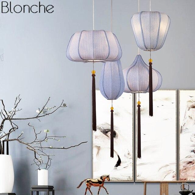 Chinese Style Vintage Pendant Lights Fabric Lantern Lamp Led Retro Hanging Light Fixtures Dining Room Restaurant