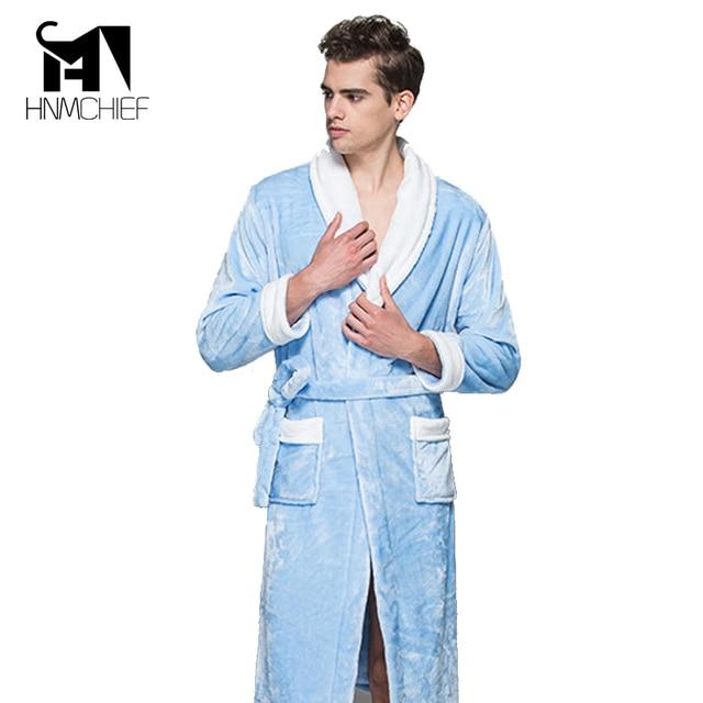 bathrobe 2017 men's bathrobe men robe sexy Autumn winter thickening flannel robe Long Sleeve Flannel Fleece Sleep Lounge Robes