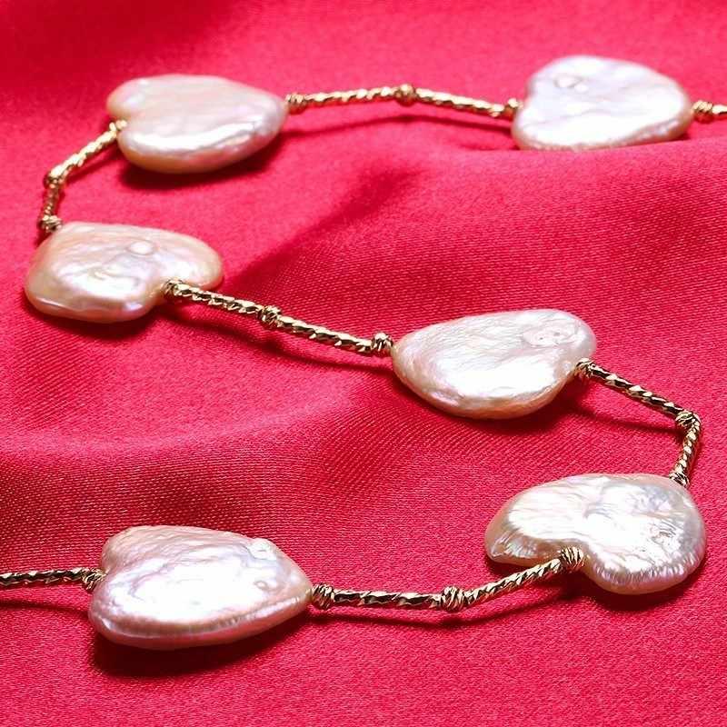 Braque Natural Água Doce da Pérola Colar, Colar de Zircão de Ouro Estender Fivela, 41 + 5 cm de comprimento, amor branco Belas Contas de Colar de Jóias Mulheres