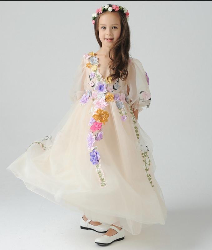ФОТО Children   Dress Flower Fairy Princess Girls Tutu Dress Kids Performance Halloween Flower Fairy Princess Dress