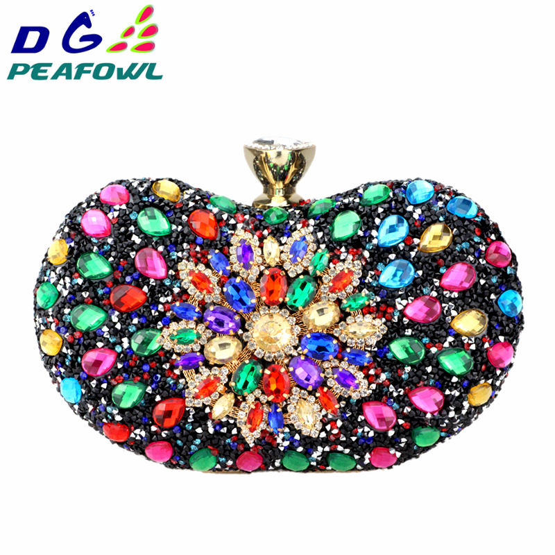 DG PEAFOWL Two Side Luxury crystal Floral Clutch chain bag evening woman diamond wedding Shoulder wallet purse Handbags 5 colors(China)