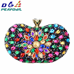DG PEAFOWL Two Side Luxury crystal Floral Clutch chain bag evening woman diamond wedding Shoulder wallet purse Handbags 5 colors