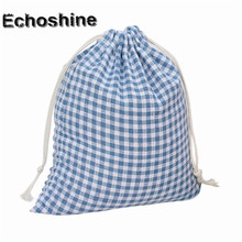 2016 Grid Plaid Printing Women&Men Drawstring Candy Bag Beam Port Storage Gift Bag High Quality Casual Unisex Small Pouch