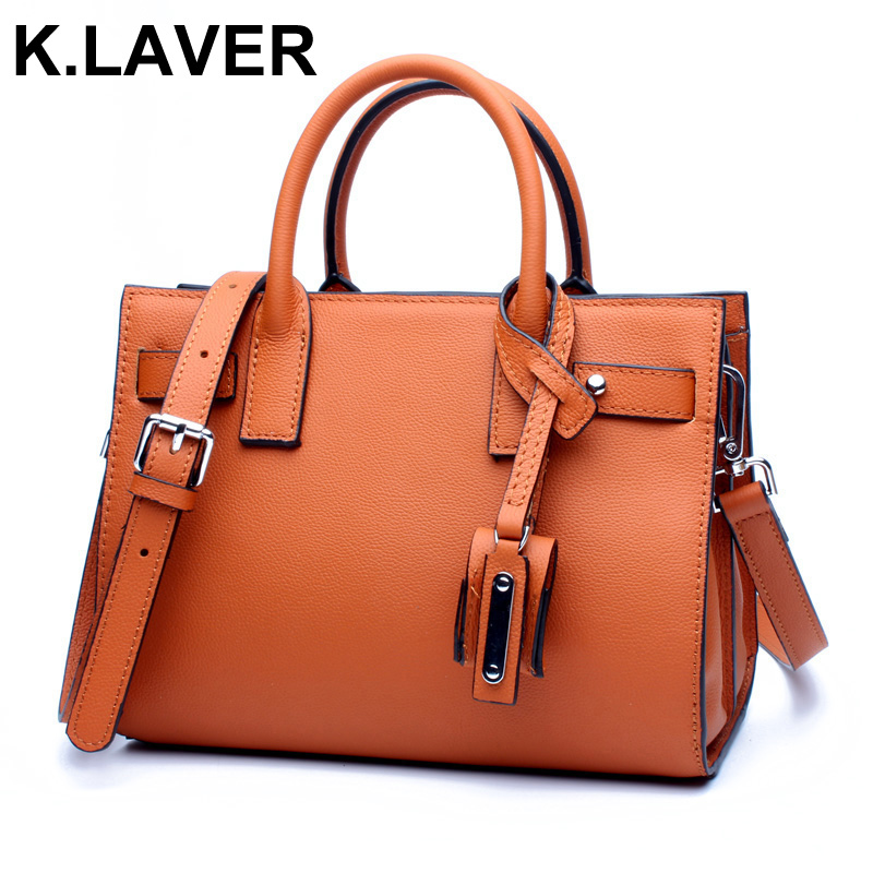 K.LAVER designer handbags high quality ladies Top-handle bags new cowhide real genuine leather saffiano bag with shoulder strap