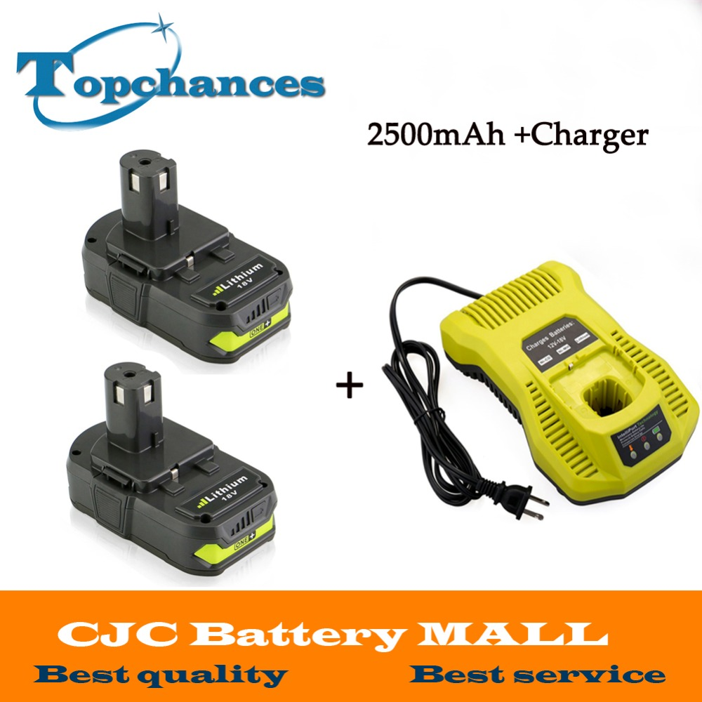2PCS 18V 2500mAh Li-Ion For Ryobi Hot P108 RB18L40 Rechargeable Battery Pack Power Tool Battery Ryobi ONE+ With Charger 3 6v 2400mah rechargeable battery pack for psp 3000 2000