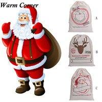 Warm Corner High Quality Large Canvas Merry Christmas Santa Sack Xmas Stocking Reindeer Gift Storage Bag