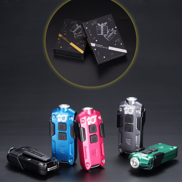 NITECORE 10th Anniversary Commemorative Edition TIP2018 Metal USB Rechargeable Key Button Light with Clip EDC Flashlight 5colors