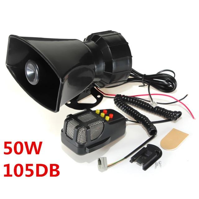 Super Loud 50W 12V 5 Sounds Motorcycle Car Van Truck Speaker Loud Siren Horn 105db With MIC