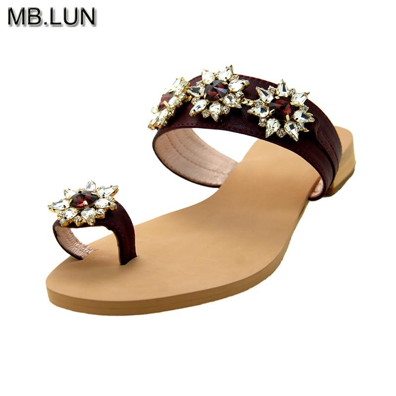 Ladies Flat Flip Flops Women Sandals Summer Shoes 2017 Italy Rhinestone Sandals Women Shoes Plus Size 12 13 Handmade MB.LUN
