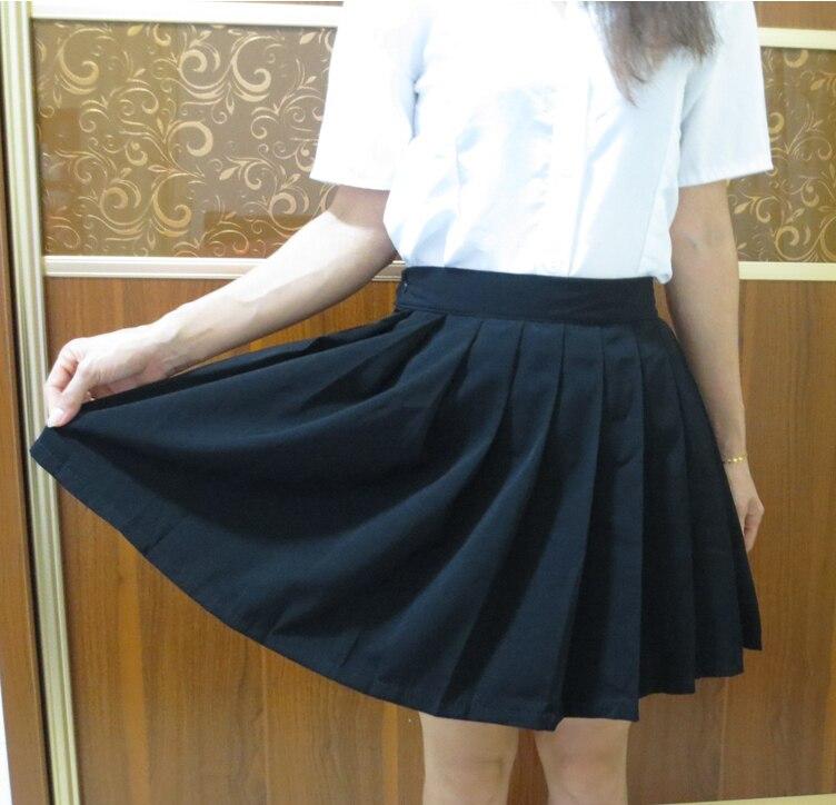 Color Negro japonés alta cintura JK estudiante niñas lindo Cosplay escuela uniforme  falda con bolsillo en Faldas de La ropa de las mujeres en AliExpress.com ... ce6afaea083c