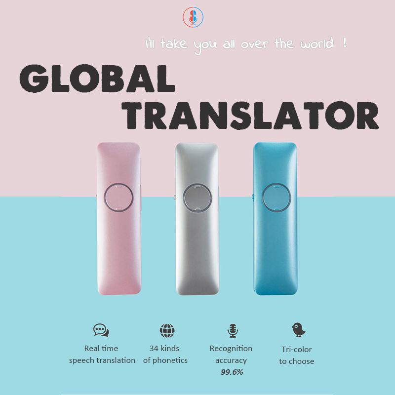 LEORY Simultaneous 34 Languages Voice Translator Smart Portable Bluetooth Interpreter For Travel Study Bussiness Shopping ...