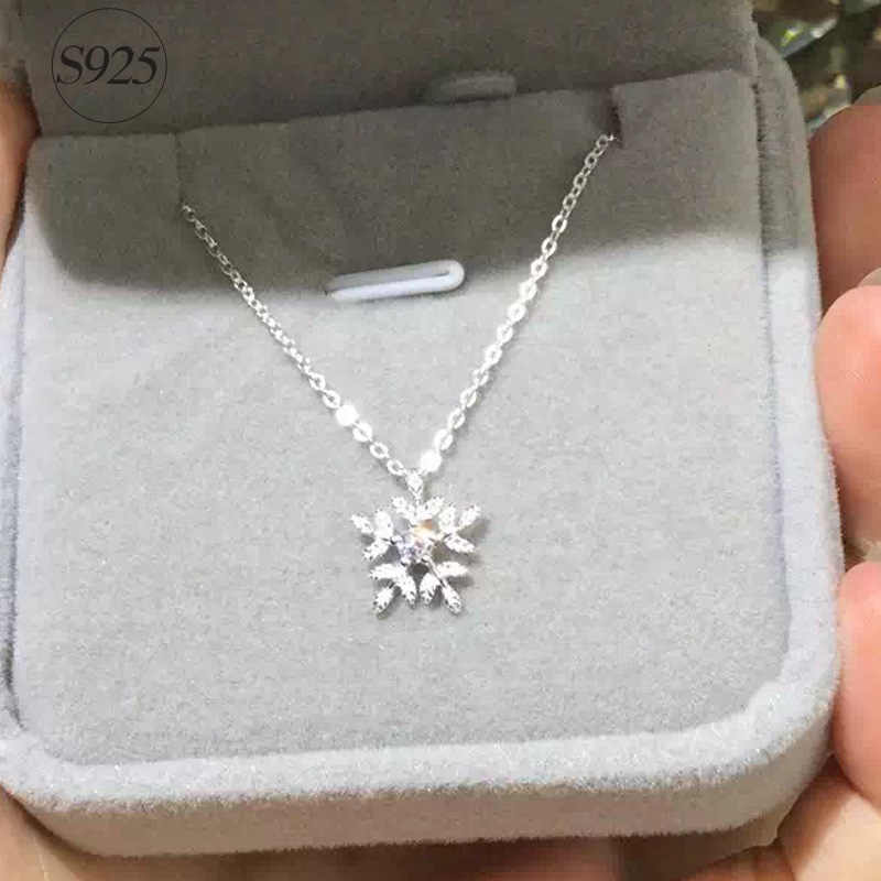 RYOUCUTE 100% Real Pure New 925 Sterling Silver Zirconia Snowflake Necklaces Pendants for Women Wedding Jewelry Kolye Collares