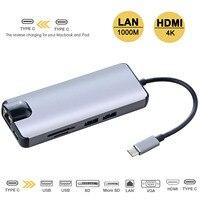 8 In1 Type C To Type C HDMI VGA RJ45 USB 3.0 Micro TF/SD Card Reader Thunderbolt Hi Speed 8 Port USB Hub Splitter Hub Adapter