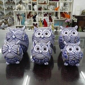 Image 3 - Coruja estatuetas decoração mini animais ornamentos para casa acessórios de decoração de escritório artesanato decoração de arte 3pc presentes de casamento