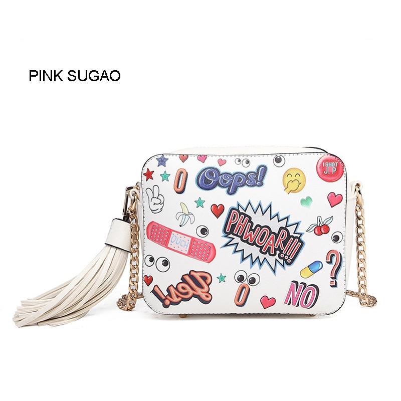 Różowy sugao projektant kobiet torby na ramię nowa moda gwiazda crossbody torby cartoon uroczy kwiat drukowane torba na ramię mała Torba markowa w Torebki na ramię od Bagaże i torby na  Grupa 1