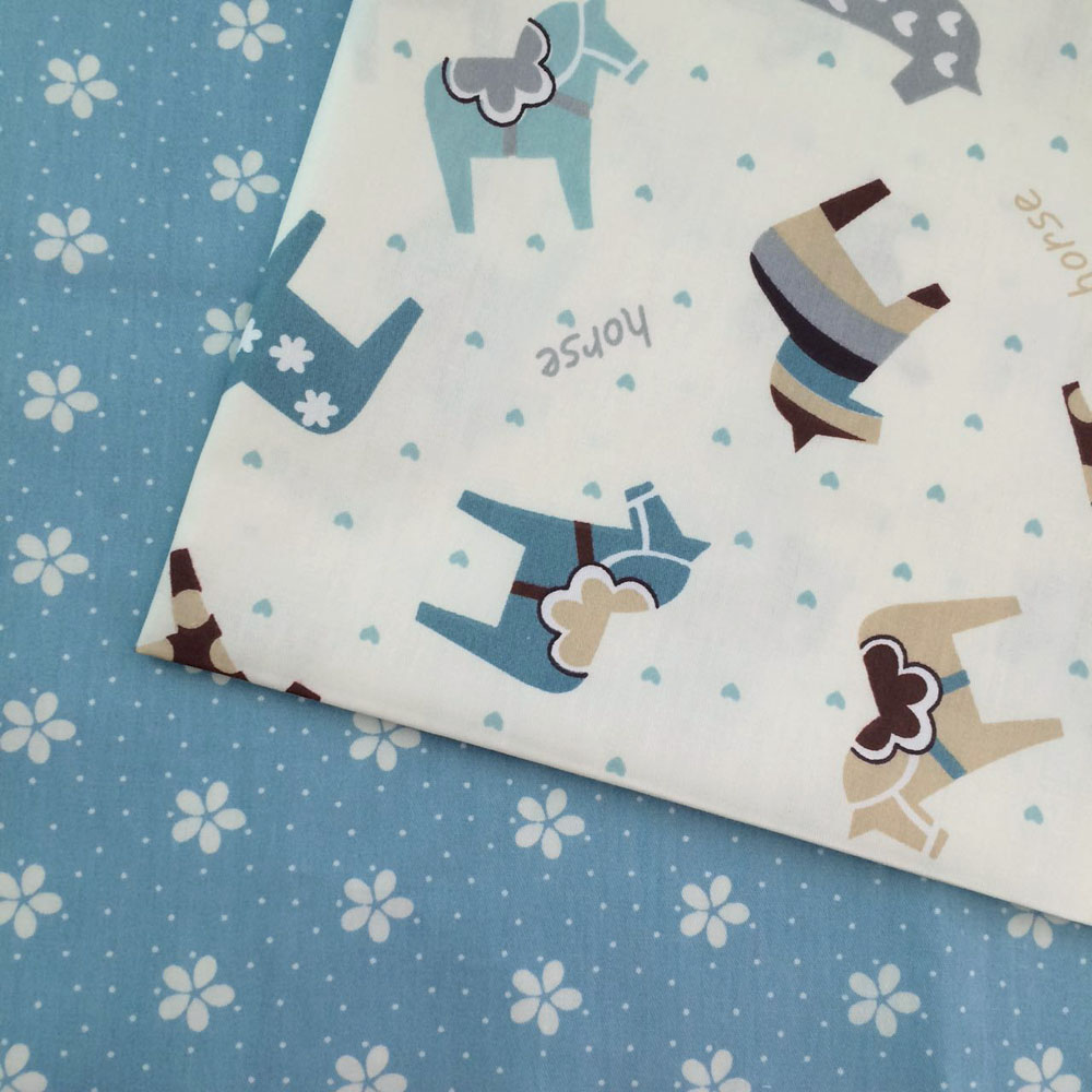 100 160cm 100 cotton twill cloth cartoon horse blue white for Horse fabric for kids