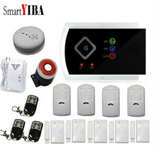 SmartYIBA Anti-thief Home Security Gsm SMS Alarm System 99 Wireless Zones Smoke Fire Sensors Spanish Russian French Cezch Voice