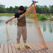 Size 2.4M-7.2M Fishing Net American Style Cast Network High Quality Sports Hand Throw Fishing Net Small Mesh Cast Net