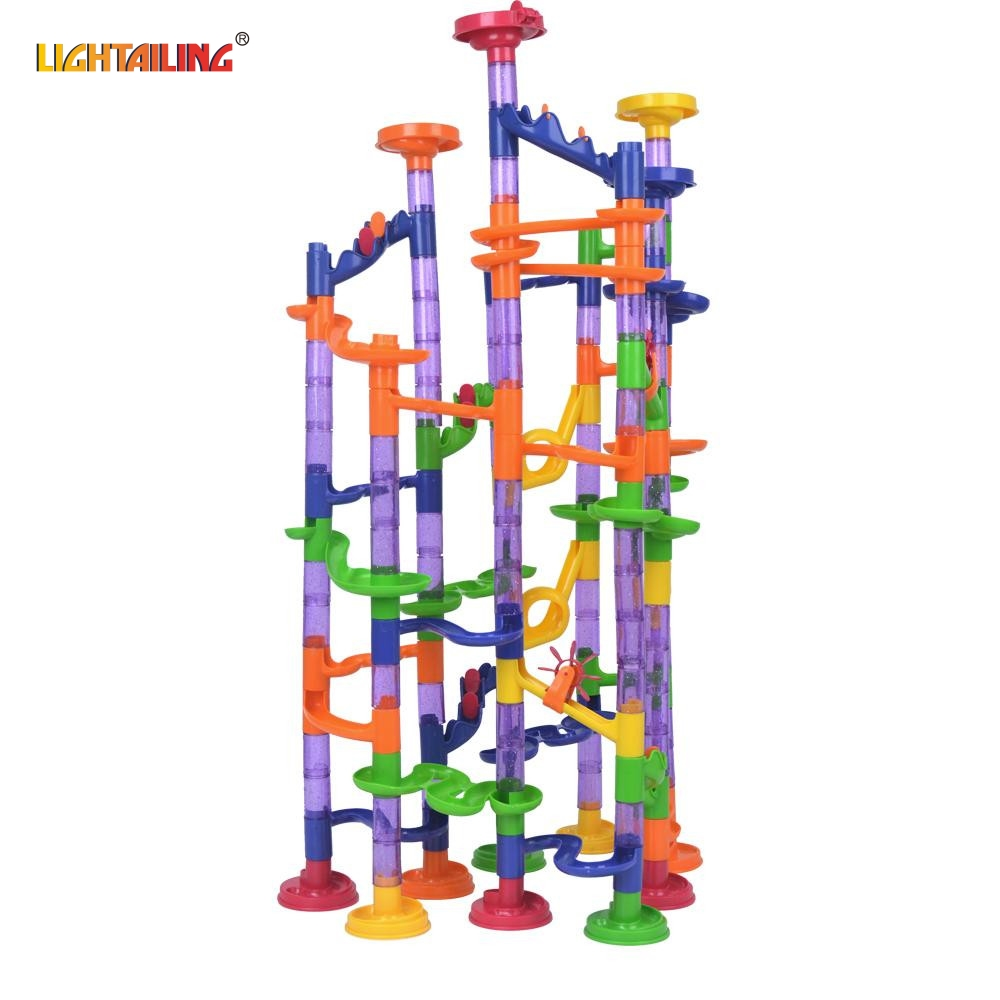 LIGHTAILING 150 Pcs DIY Marble Run Intellect Ball Tracks Game Maze Balls Children Puzzle Educational Set Children Gifts Toys 3d magical coin intellect maze ball kids amazing balance logic ability toys educational iq trainer game for kids chirstmas gifts