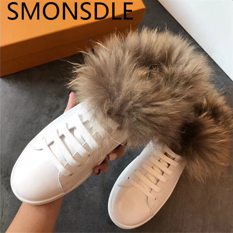 SMONSDLE New Fashion Genuine Leather Women Flats Round Toe Lace Up Shearling Women Mules Shoes Black White Casual Shoes Women 2016 new fashion women flats women genuine leather flat shoes female round toe casual work shoes women shoes