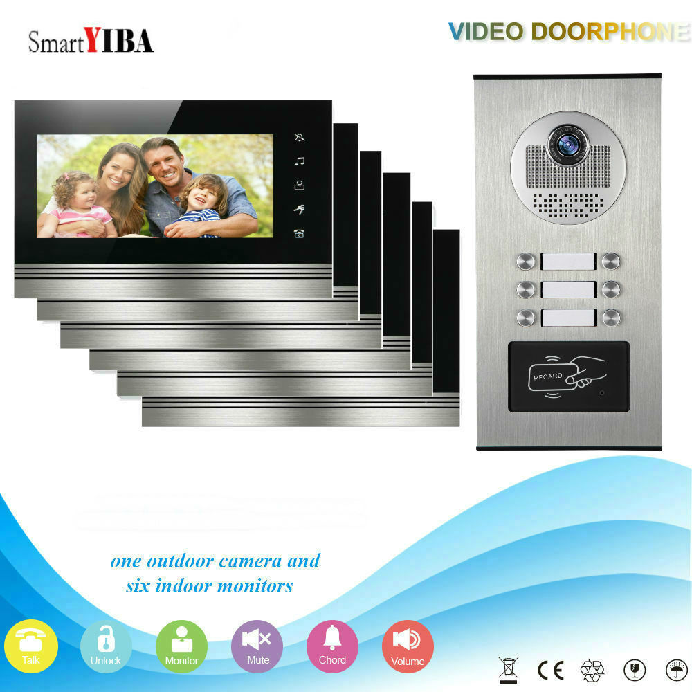 SmartYIBA Max Up To 12 Units Apartments Doorbell Doorphone Intercom Kits Rainproof Outdoor Unit For Home/Office Security System