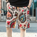Dos homens novos calções de praia impressão da flor do verão seção fina respirável conforto casual masculino linho cutton calças curtas plus size 5XL