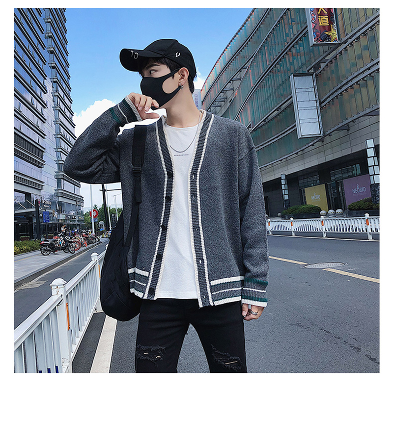 Check Button Cardigan Male Oversize Loose Streetwear (10)