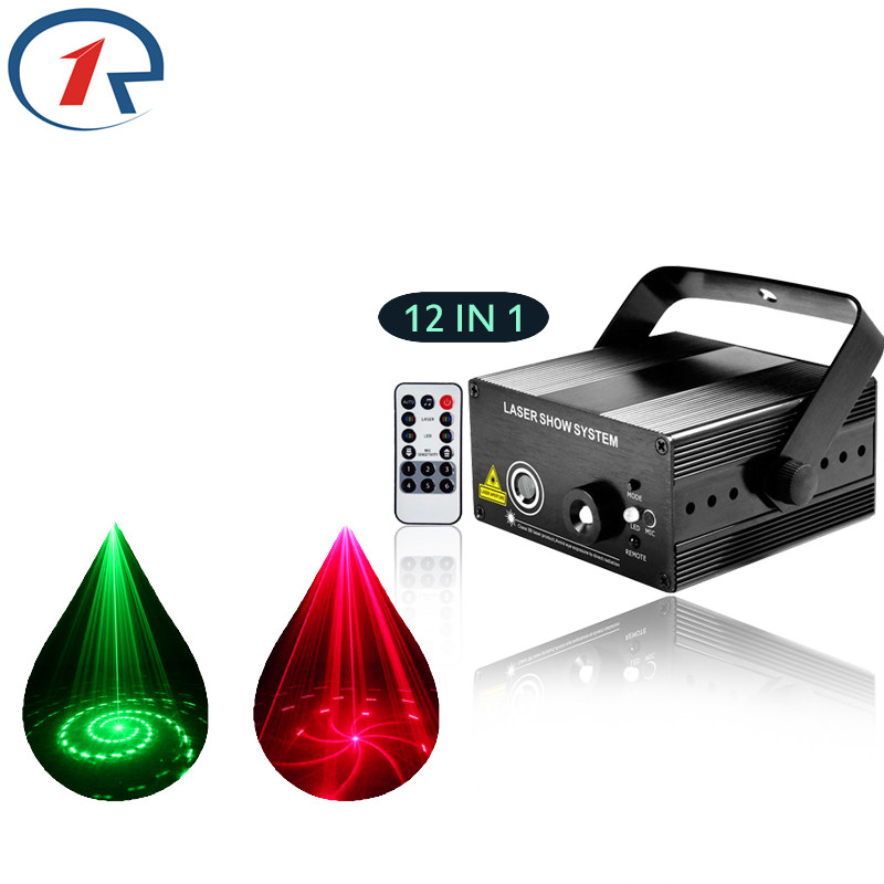 ФОТО ZjRight IR Remote 12 pattern Red Green laser light Mix Blue LED effect stage light gala party projection laser light disco light