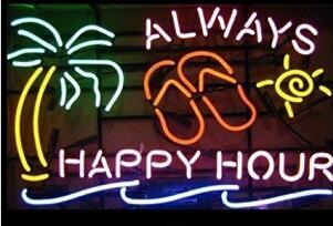 Always Happy Hour Palm Tree Neon Light Sing