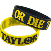 1PC Taylor Gang Or Die Ink Filled Colour Silicone Bracelet 1 Wide Band For Give Away