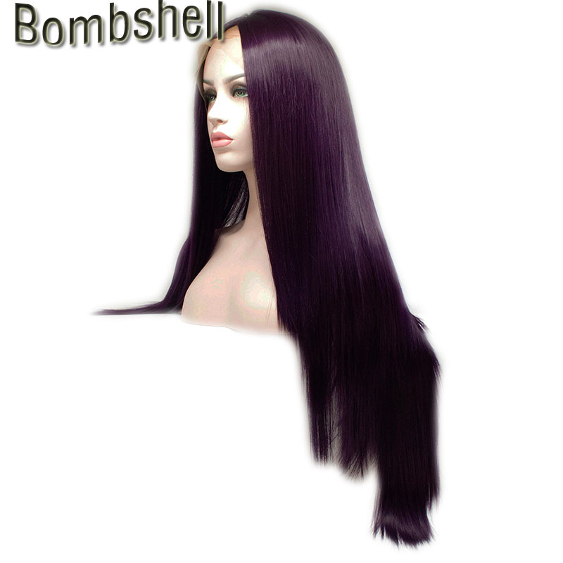 Bombshell Dark Purple Silky Straight Synthetic Lace Front Wig Glueless Heat Resistant Fiber Natural Hairline For