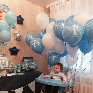 Image 3 - 10pcs Baby Shower 1st Birthday Party Decor Bianco Blu Numero Aerostati della Stagnola Forniture Bambino ragazzo balls 2.2g 1 lattice elio globos