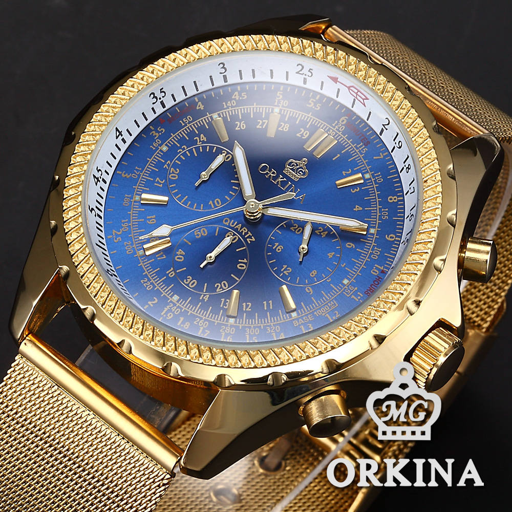 MG. ORKINA Fashion Casual Men Watch Luxury Golden Case Royal Blue Dial Stainless Steel Mesh Band Relogio Male Quartz Watch multifunction sub dial orkina men vogue luxury quartz watch golden mesh metallic strap blue round dial hot sale classic gift