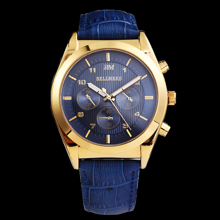 BELLMERS men Watch Top Fashion Brand man Clock Gold Case Calendar Display Real Leather Strap Waterproof Writwatches Hot Sale real amount of ceramic fashion set auger waterproof quality precision rotary calendar watch brand man woman a good watch