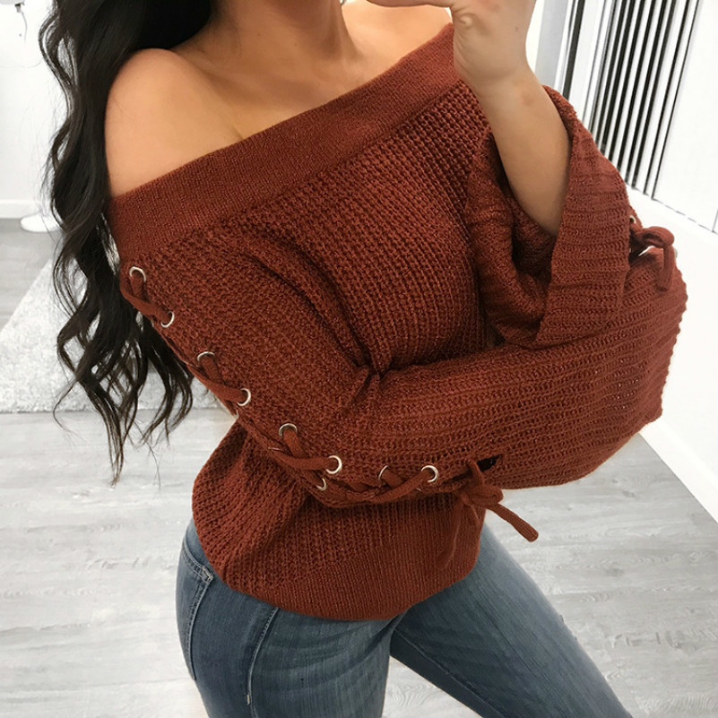 MUXU red bandage Sweater Woman Knitting harajuku women sweaters and pullovers womens clothing long sleeve high quality women in Pullovers from Women 39 s Clothing