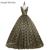 Angel Novias Long Gold And Black Evening Dress 2018 V Neck Ball Gown Lace Women Party