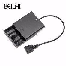 4 шт. AA батарейный отсек крышка с выключателем и USB мама для USB 5 В светодиодный шнур и Светодиодная лента портативный источник питания