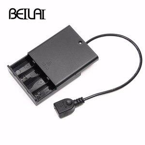 Image 1 - 4 pièces AA couvercle du compartiment à piles avec interrupteur et USB femelle pour USB 5V LED chaîne et bande de LED alimentation Portable