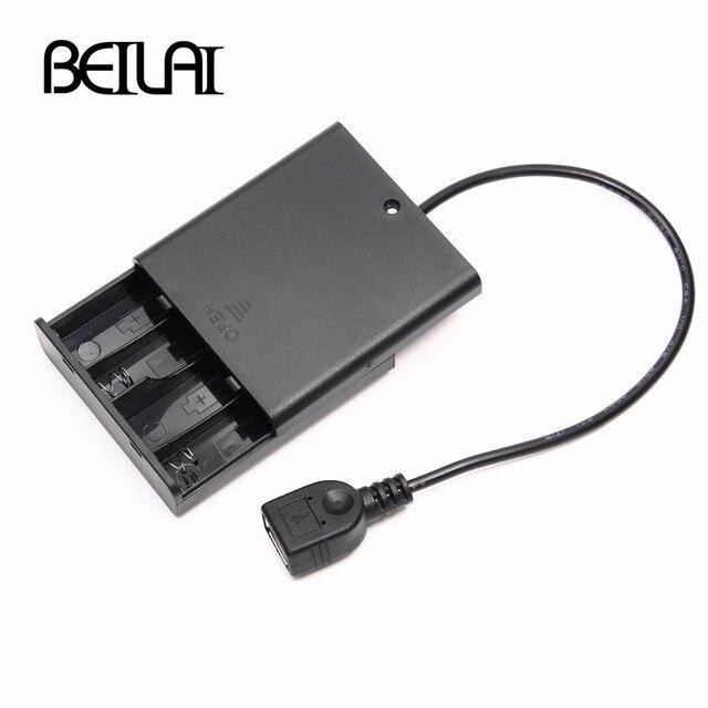 4 pièces AA couvercle du compartiment à piles avec interrupteur et USB femelle pour USB 5V LED chaîne et bande de LED alimentation Portable