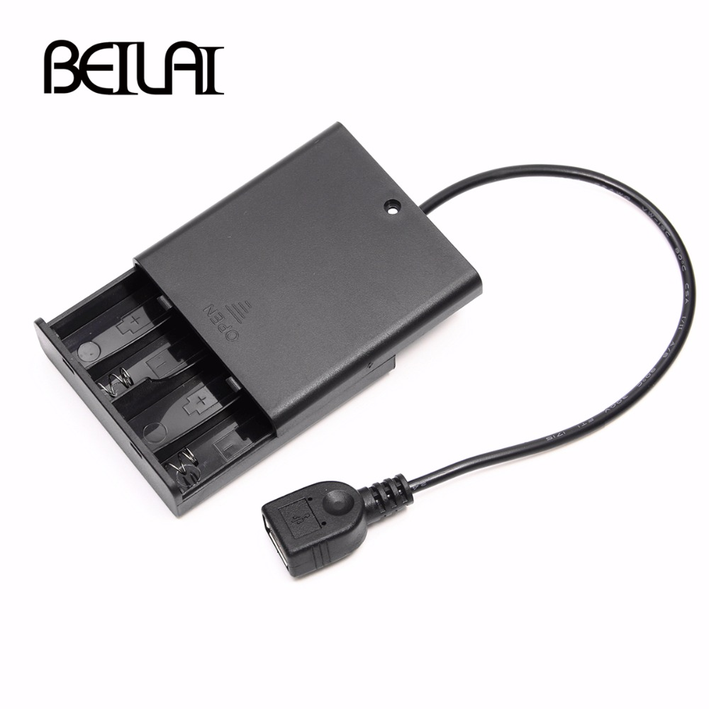 4pcs AA Battery Compartment Lid With switch and USB Female For USB 5V LED String and LED Strip Portable Power Supply4pcs AA Battery Compartment Lid With switch and USB Female For USB 5V LED String and LED Strip Portable Power Supply
